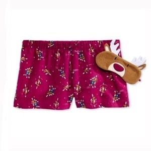 Reindeer boxer pajama shorts and eye mask set